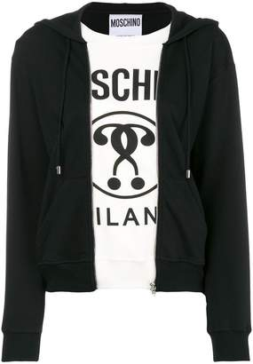 Moschino two in one hoodie logo tee