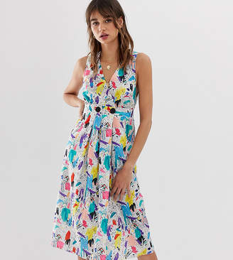 Reclaimed Vintage inspired midi dress with wrap button front in brush stroke print
