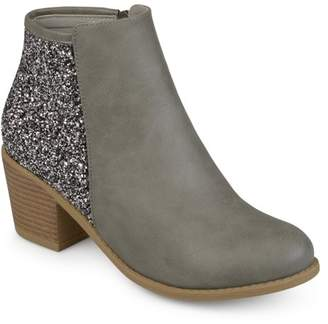 Co Brinley Women's Faux Leather Wood Stacked Heel Glitter Booties