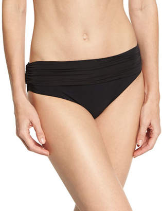 Heidi Klein Body Ruched Fold Over Bottom, Black $140 thestylecure.com