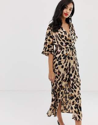 Liquorish twist front satin midi dress in leopard print 31696bffe