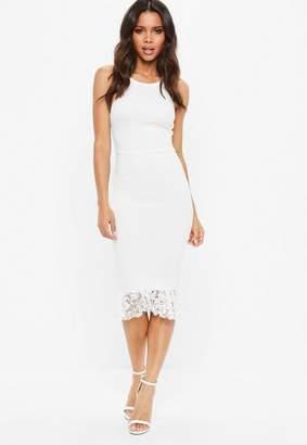 Missguided White Square Neck Lace Hem Bodycon Midi Dress, White