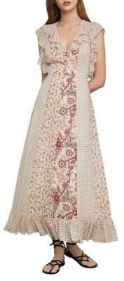 BCBGMAXAZRIA Mixed-Floral Ruffled Maxi Dress