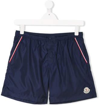 Moncler TEEN contrast-trim swim shorts