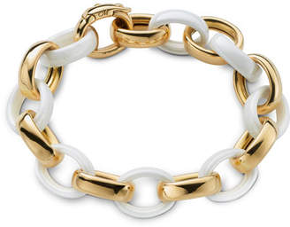 Monica Rich Kosann Yellow Gold & White Ceramic Link Bracelet