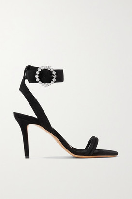Isabel Marant Alapee Crystal-embellished Suede Sandals - Black