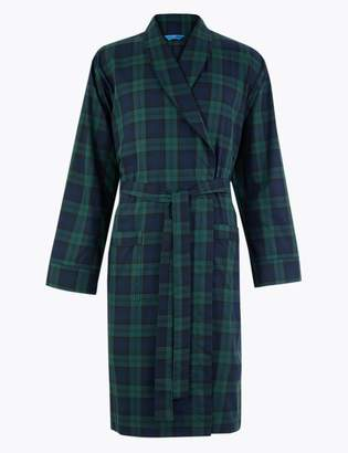 Marks and Spencer Cotton Blend Checked Dressing Gown