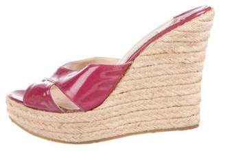 Jimmy Choo Patent Leather Wedge Sandals