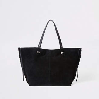 At River Island Womens Black Leather Tote Bag
