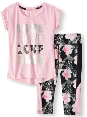 XOXO Dolman Mesh Back Top and Tropical Performance Capri, 2-Piece Active Set (Little Girls & Big Girls)