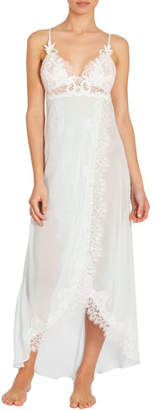 Jonquil Stephanie Lace-Trim Chiffon Long Nightgown