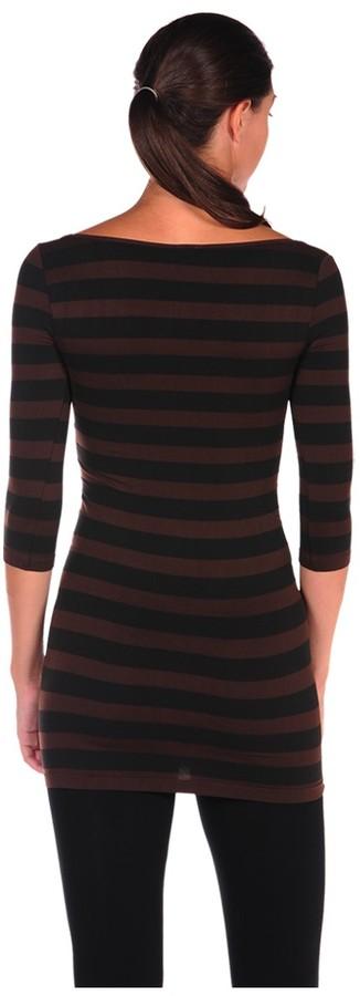 Luxe Junkie 3/4 Sleeve Striped Wide Scoop Tunic