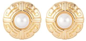 Susan Caplan Vintage 1980s Vintage Givenchy Logo Round Faux Pearl Earrings