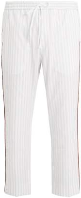 Gucci Side-stripe striped cotton trousers