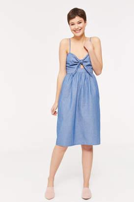 Ardene Chambray Tie-Front Midi Dress
