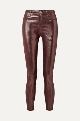 J Brand Metallic Snake-effect Leather Skinny Pants