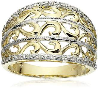 10k Yellow Filigree Diamond Ring (1/10 cttw