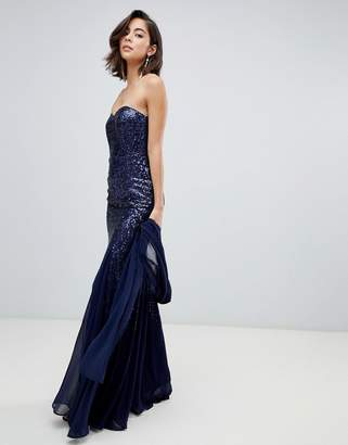 City Goddess Bandeau Scatter Sequin Chiffon Maxi Dress With Scarf