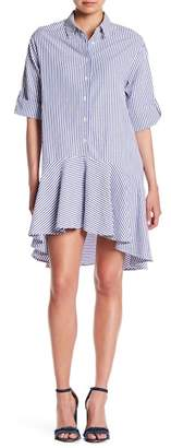 Everly Ruffle Hem Button Stripe Dress