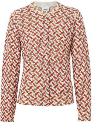 Burberry Monogram Print Merino Wool Cardigan