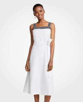 Ann Taylor Wavy Trim Chambray Midi Dress