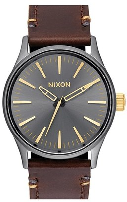 Women's Nixon Sentry Leather Strap Watch, 38Mm $150 thestylecure.com