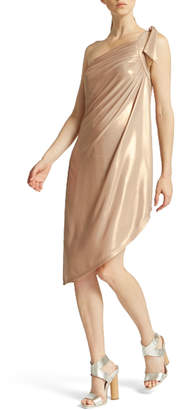 Halston One-Shoulder Draped Metallic Dress