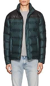 Just Cavalli MEN'S FAUX-LEATHER-YOKE DOWN PUFFER JACKET-BLACK SIZE 46 EU