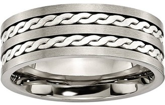 Primal Steel Titanium Sterling Silver Braided Inlay 8mm Brushed and Antiqued Band