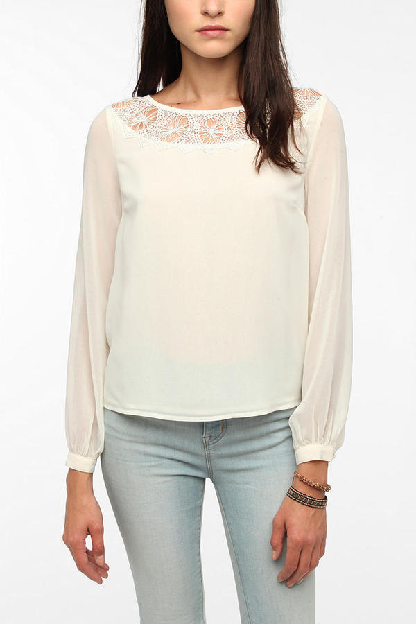 Urban Outfitters Pins and Needles Circle Lace Inset Blouse