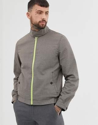 Asos Design DESIGN check harrington jacket with fluro lining