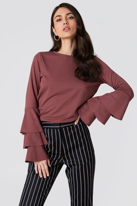 NA-KD Na Kd Triple Flounce Sleeve Sweater Dark Purple Rose