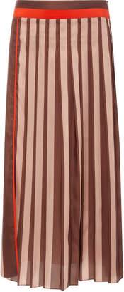 Victoria Beckham Victoria Striped Pleated Chiffon Midi Skirt