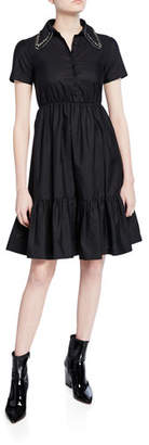 No.21 No. 21 Collared Short-Sleeve Dress with Crystals