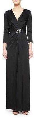 Jenny Packham Crystal-Embellished 3/4-Sleeve Satin Gown, Black $3,220 thestylecure.com