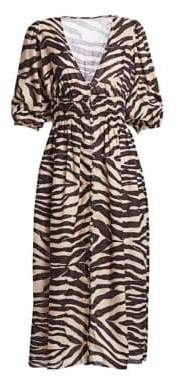 Zimmermann Juniper Linen Zebra Midi Dress