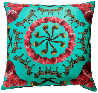 N. Kiss Her By Bianca Hall Zebras Pipes n' Roses Pillow