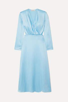 MATÉRIEL Wrap-effect Cutout Silk-satin Midi Dress - Sky blue