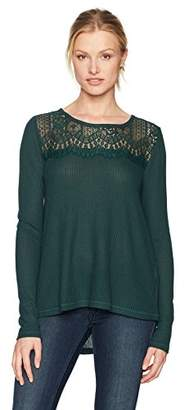 Lucky Brand Women's Lace Mixed Thermal Top