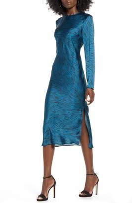 Leith Bias Cut Side Slit Satin Dress
