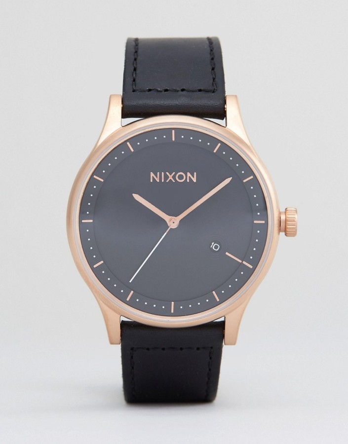 Nixon Station Leather Watch In Black & Rose Gold ... - photo #26