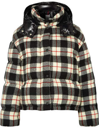 Moncler Hooded Quilted Checked Wool And Shell Down Jacket - Black