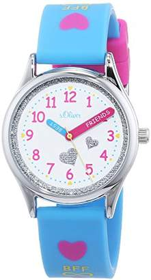 S'Oliver Girls' Analogue Quartz Watch with Silicone Strap SO-3502-PQ