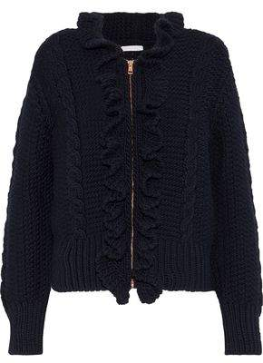 See by Chloe Ruffle-trimmed Cable-knit Wool Cardigan