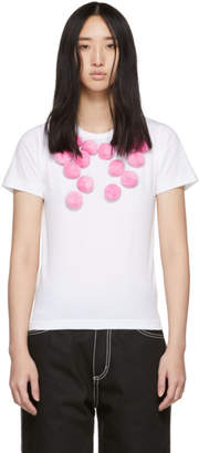 Comme des Garcons White and Pink Pom Pom T-Shirt