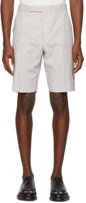 Thom Browne Grey and White Seersucker Side Zip Backstrap Shorts