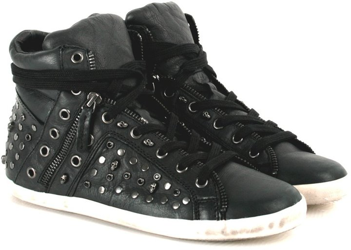 Ash Black Stella Women's Studded Distressed High Top Trainer