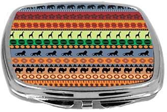 Rikki Knight Indigo Orange Teal African Tribal Print Design Compact Mirror