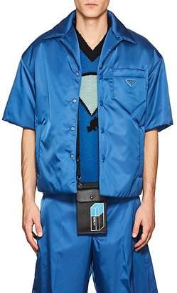 Prada Men's Padded Tech-Twill Bowling Shirt