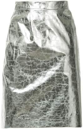 Ralph Lauren cracked effect straight skirt